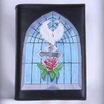 Lædervarer Kalundborg, mosaik vindue i læder